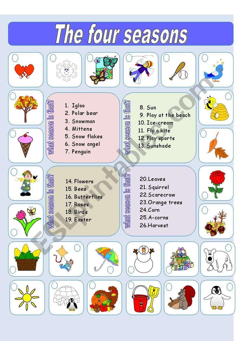 seasons vocabulary matching esl worksheet by valh. Black Bedroom Furniture Sets. Home Design Ideas
