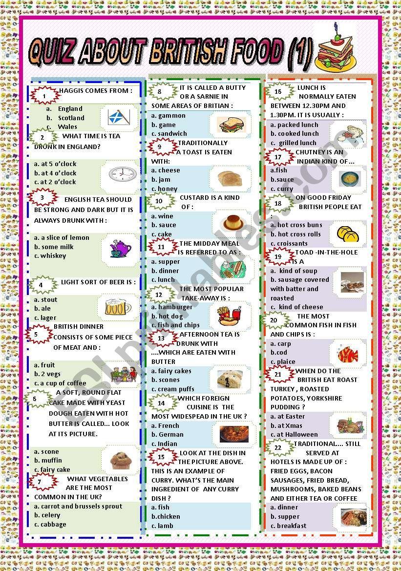 QUIZ ABOUT BRITISH FOOD PART 1