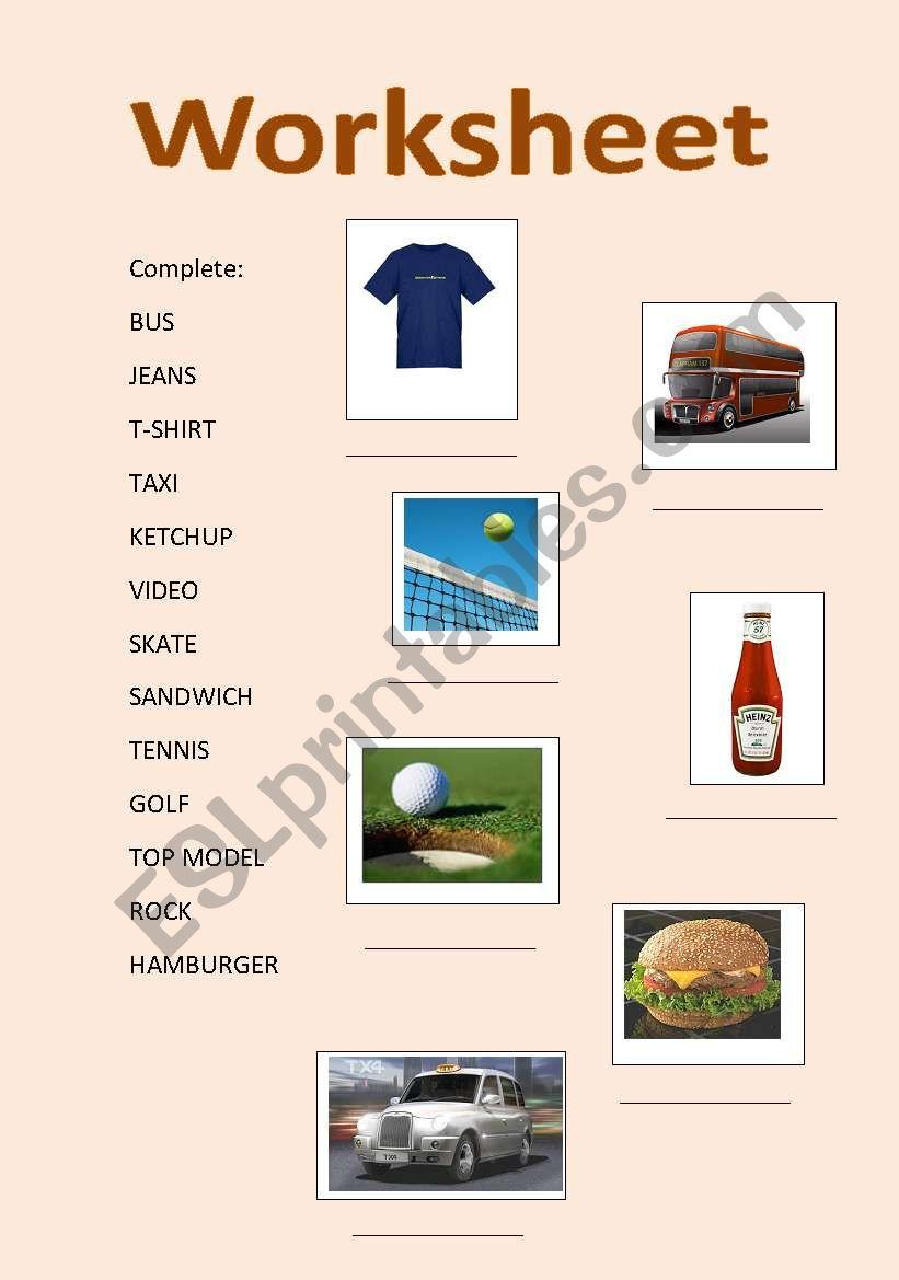 English symbols worksheet