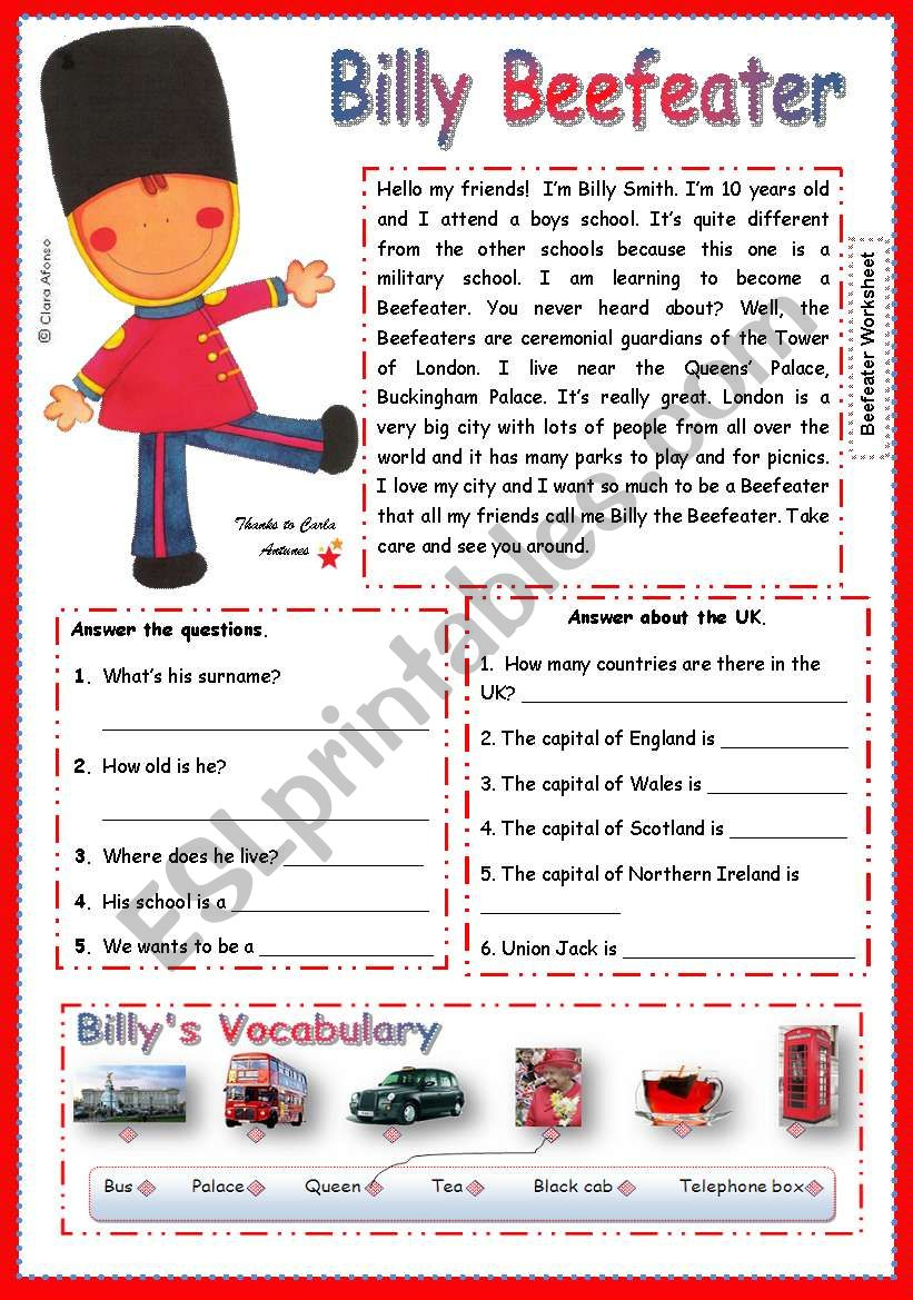 Billy Beefeater worksheet