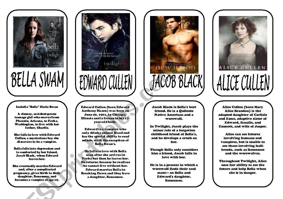 Twilight main characters 1 worksheet