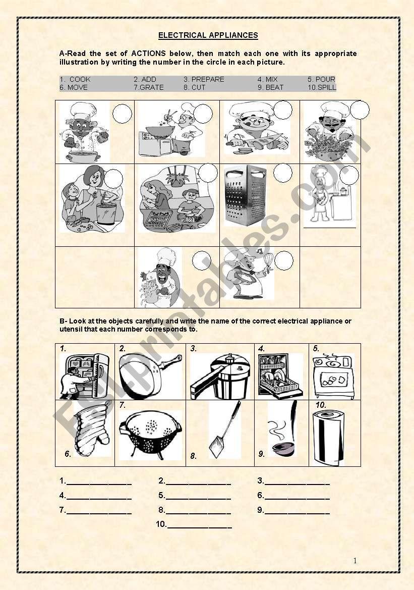ELECTRICAL APPLIANCES 1 worksheet