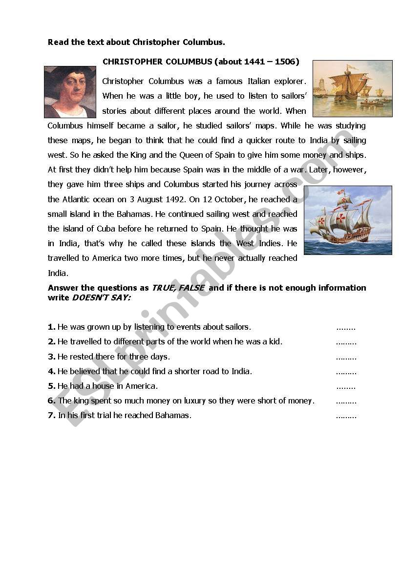 English Worksheets Christopher Columbus