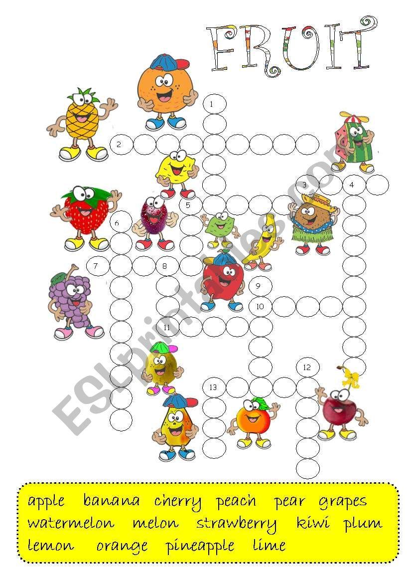 FRUIT -crossword / B&W + key/ worksheet