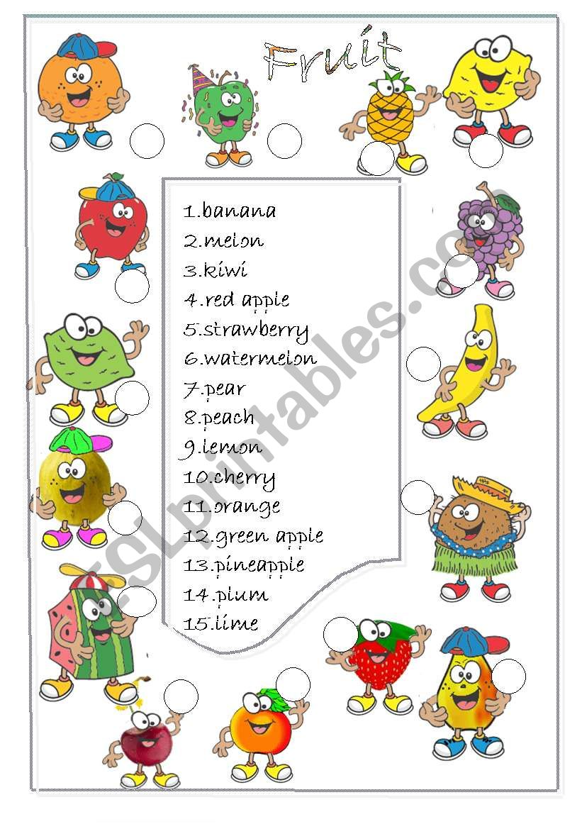 Fruit  /match/ worksheet