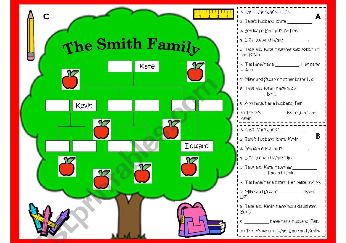 FAMILY TREE WORKSHEET AND GAME (B/W, LESSON PLAN & KEY INCLUDED)