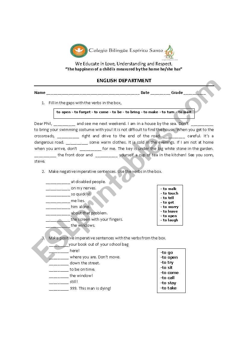 imperatives for 8th graders worksheet