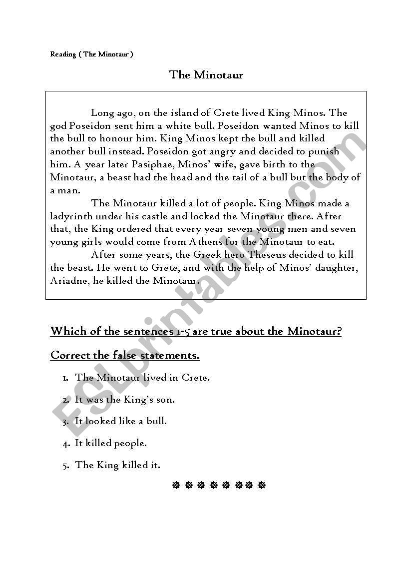 Reading ( The Minotaur ) worksheet
