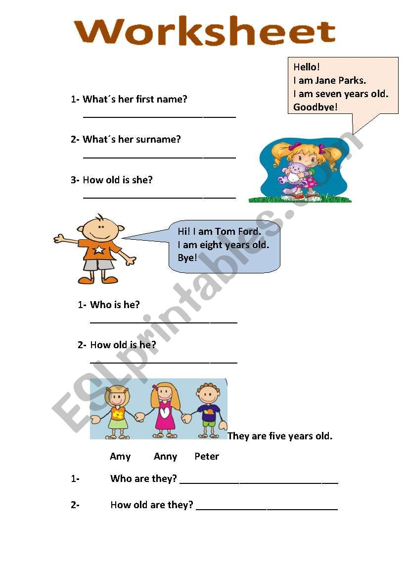 worksheet about name and age worksheet