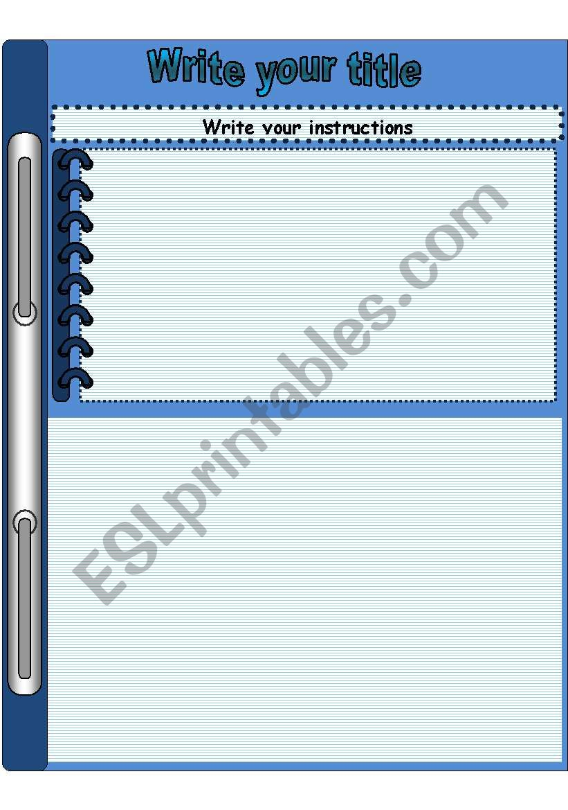 page template blue worksheet
