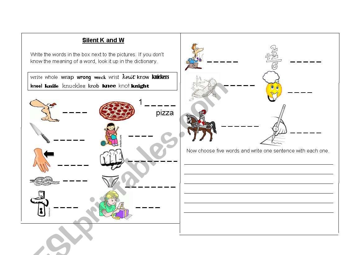 worksheet Silent W Words Worksheets english worksheets silent k and w words worksheet