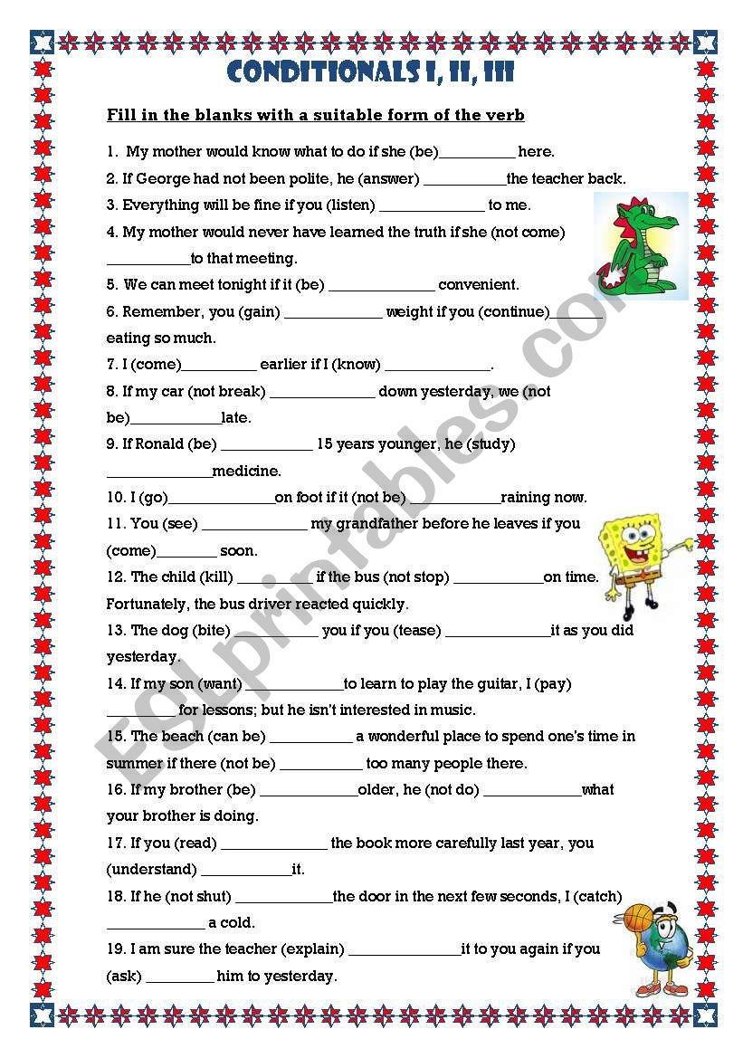 Conditional Sentences 1,2,3 worksheet
