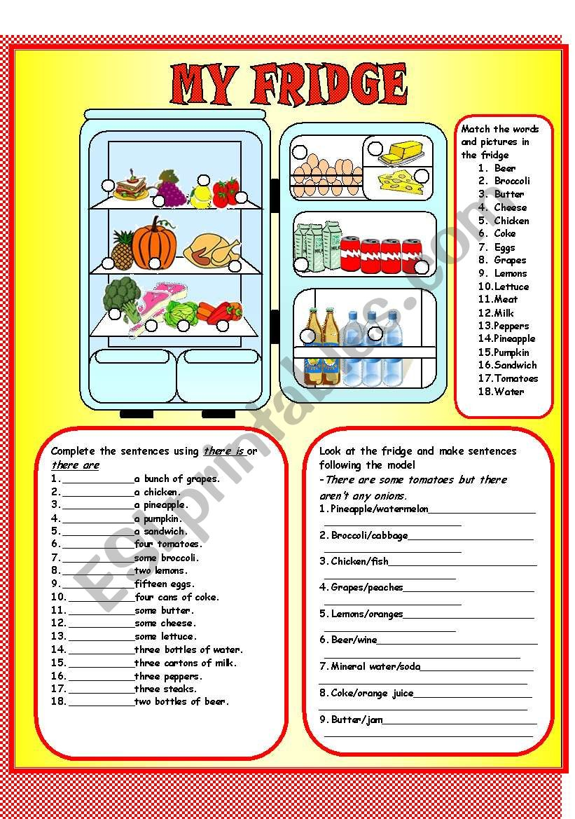 My fridge- There is-are worksheet