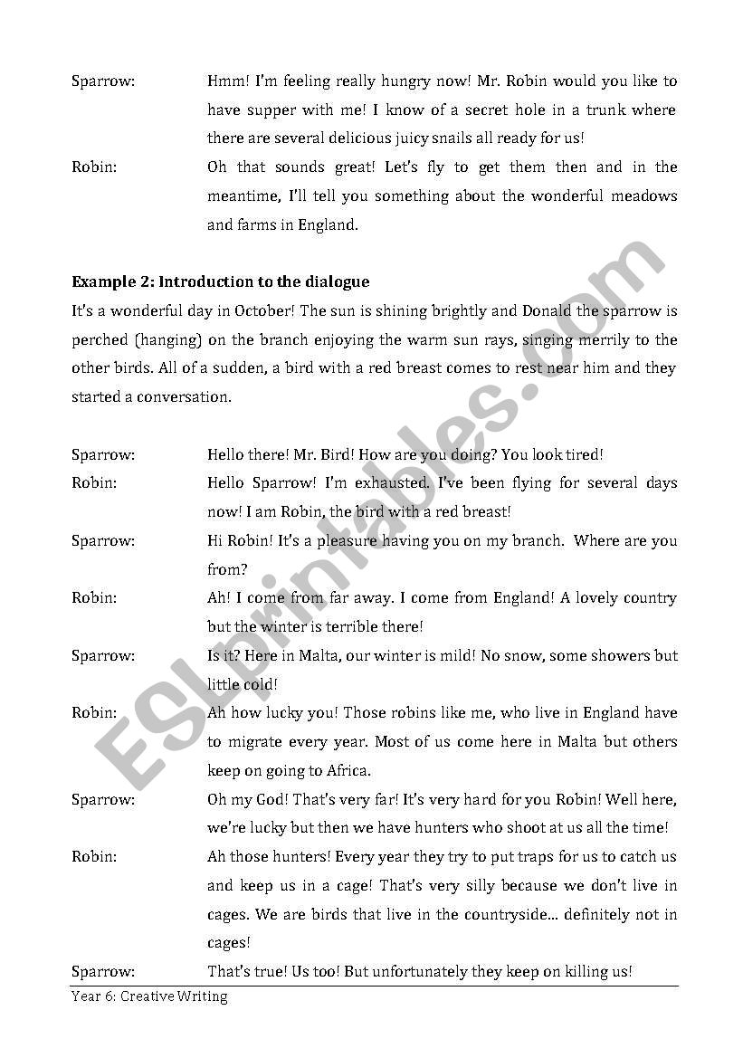 A Dialogue between two birds - ESL worksheet by marthese26