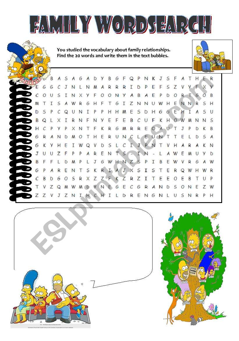 Family wordsearch worksheet