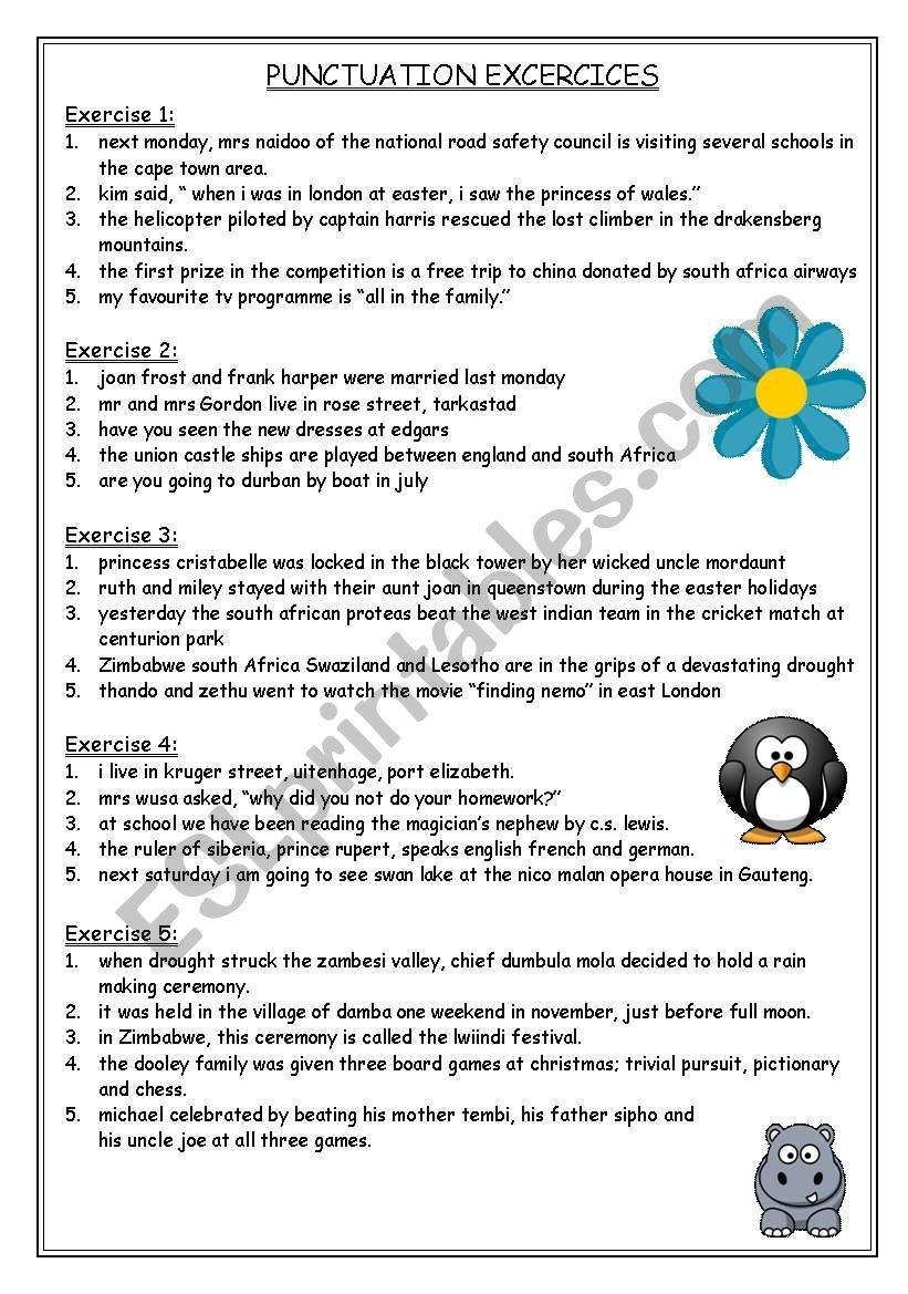 Punctuation Exercises Esl Worksheet By Sarah Lee