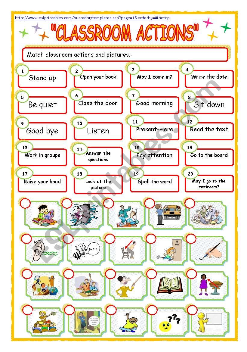 classroom expressions!! worksheet