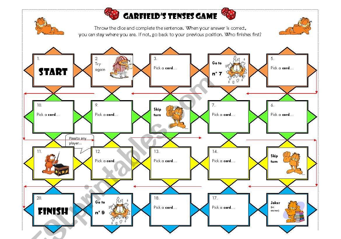 Garfield´s tenses game worksheet