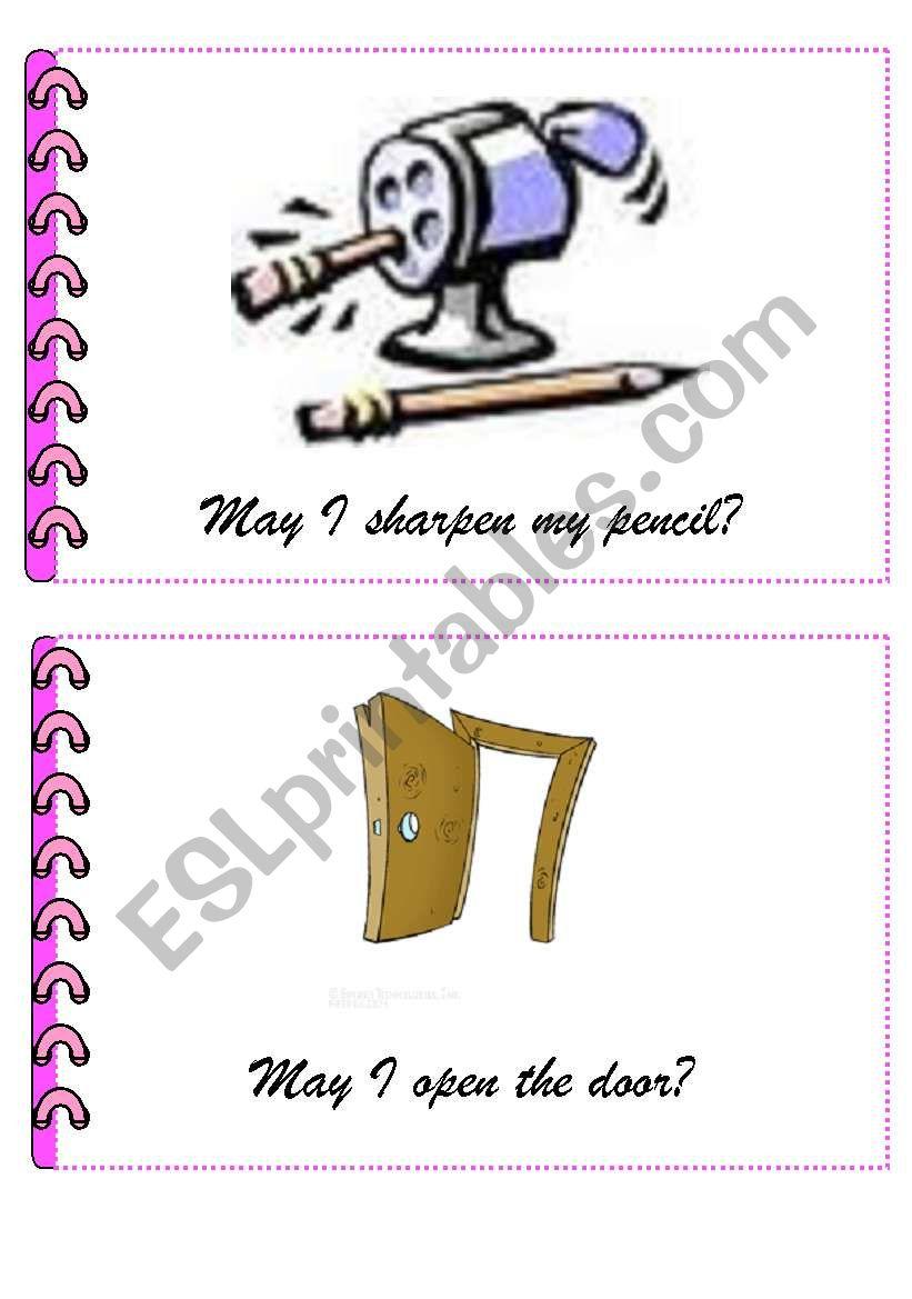 Classroom language flashcards 1st set