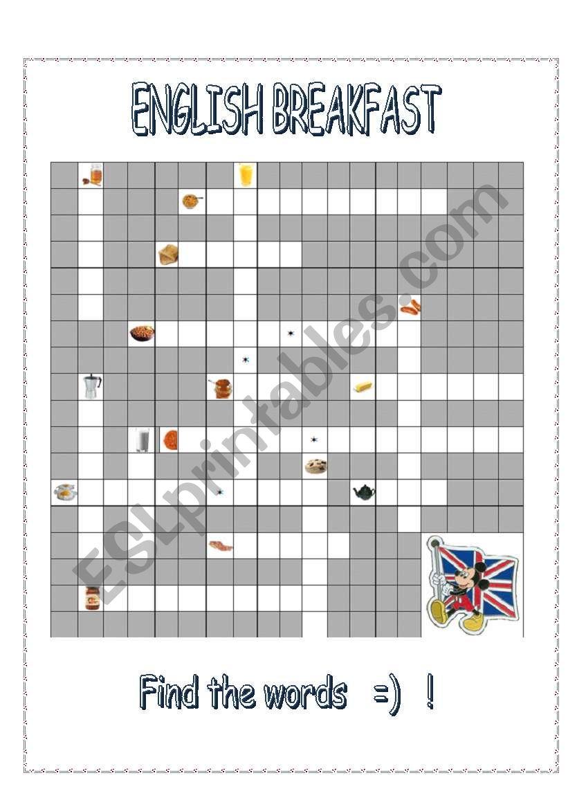 ENGLISH BREAKFAST - crossword worksheet