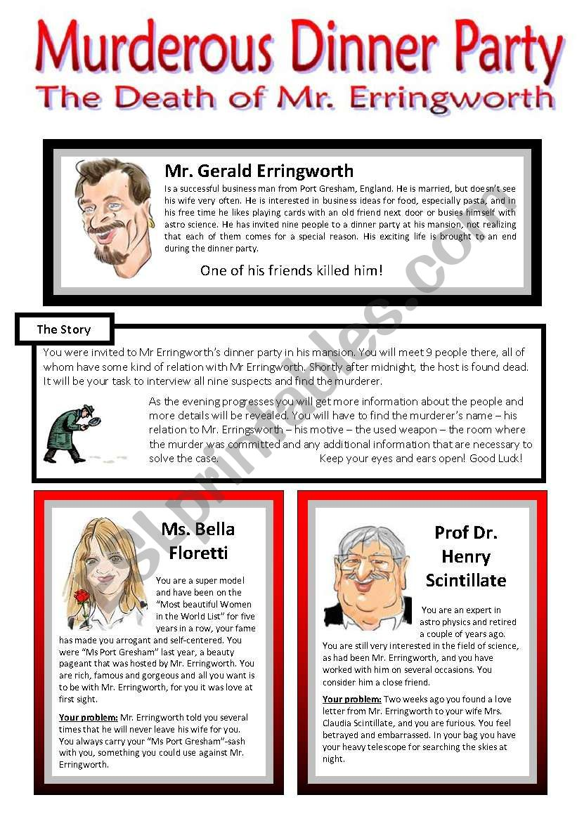 Murderous Dinner Party - ROLE PLAY - Conversation Cards - 7 Pages