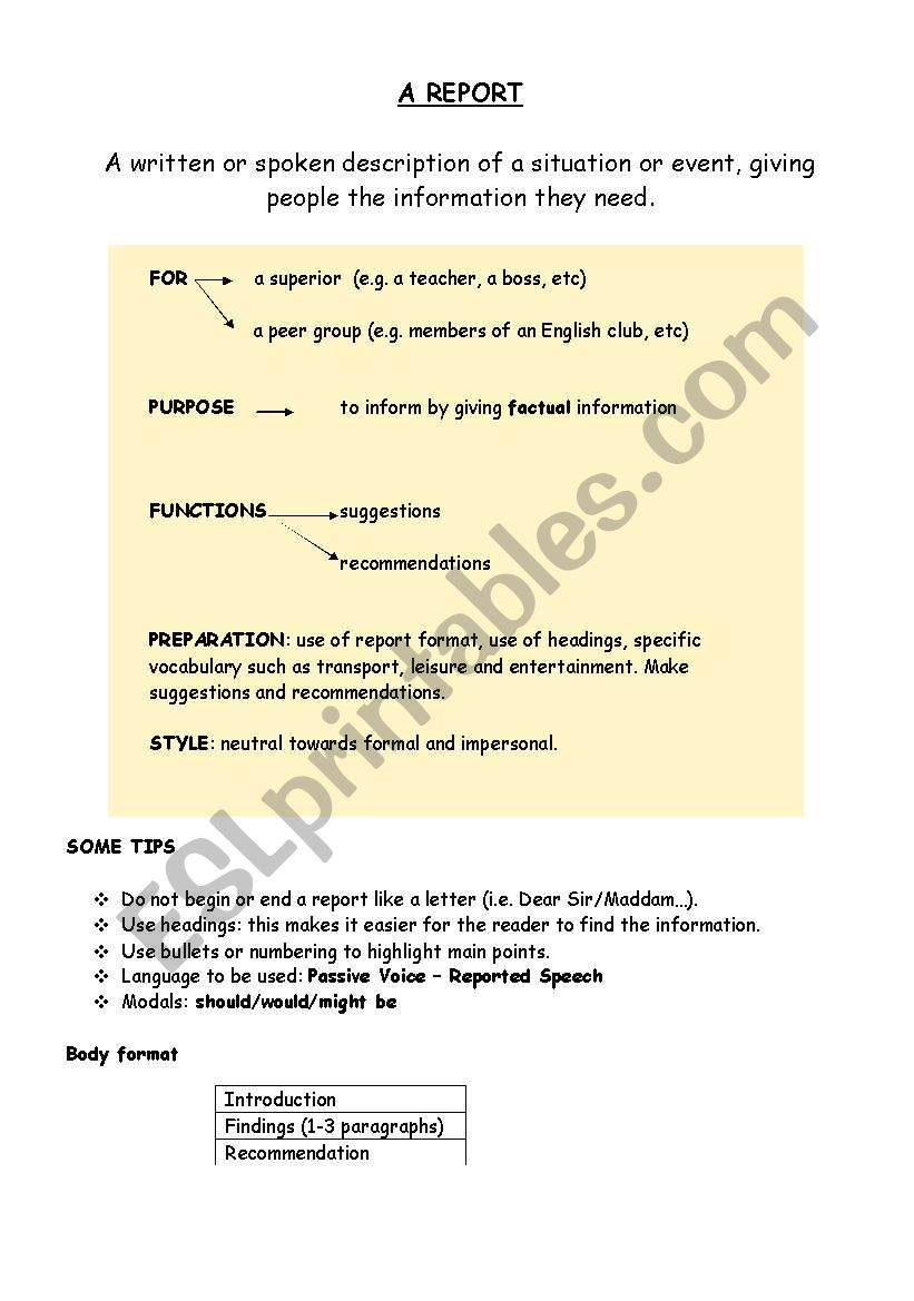 FCE-How to write a report worksheet