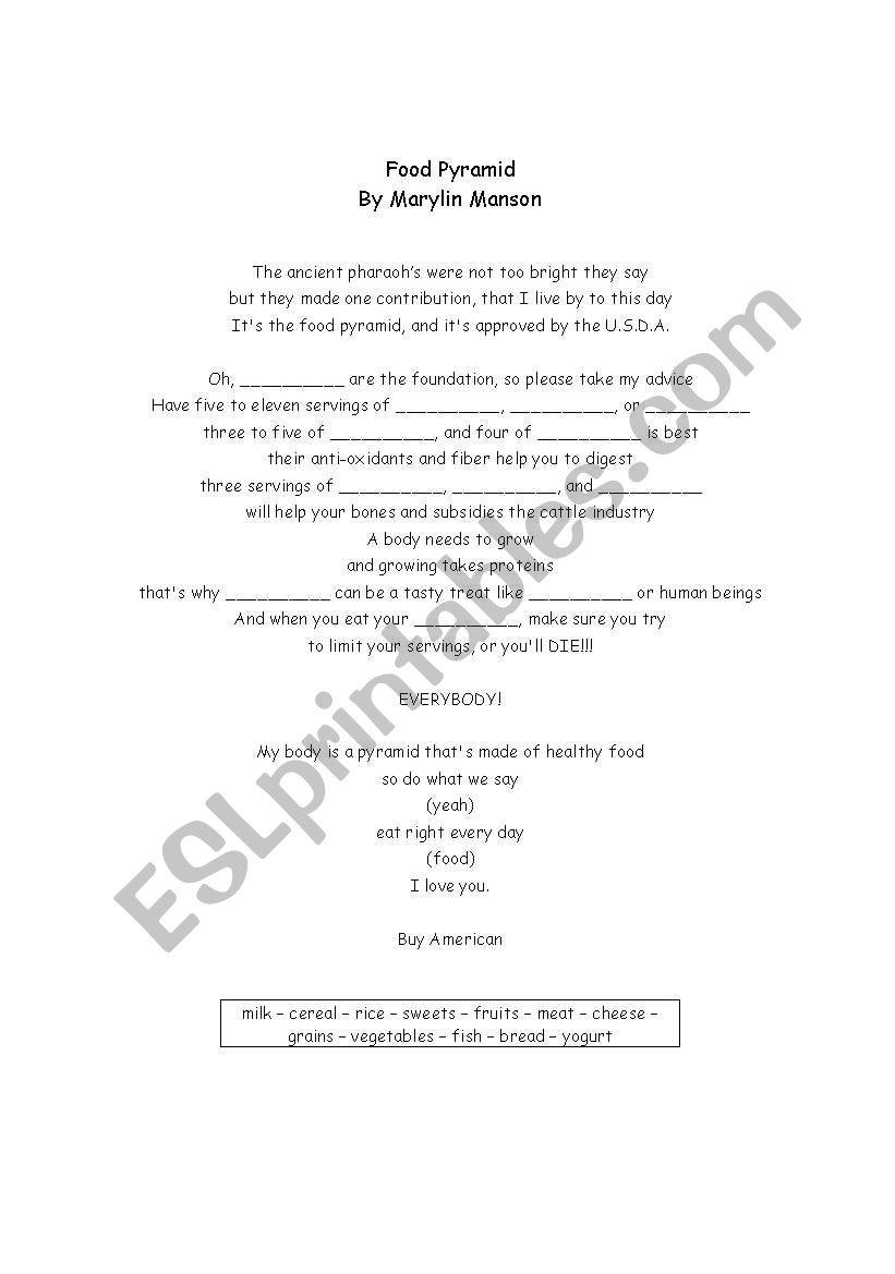 Food Pyramid (song) worksheet