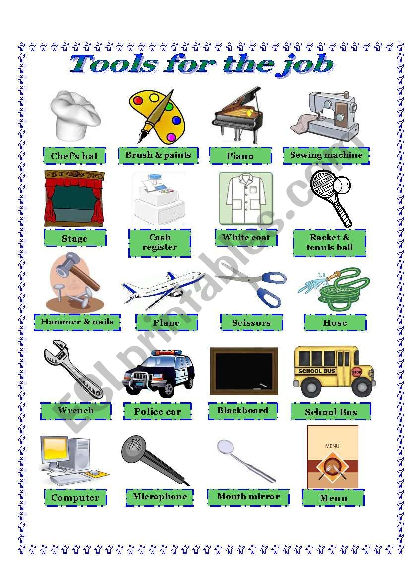 Tools for the Job -Picture Dictionary and activities - ESL ...