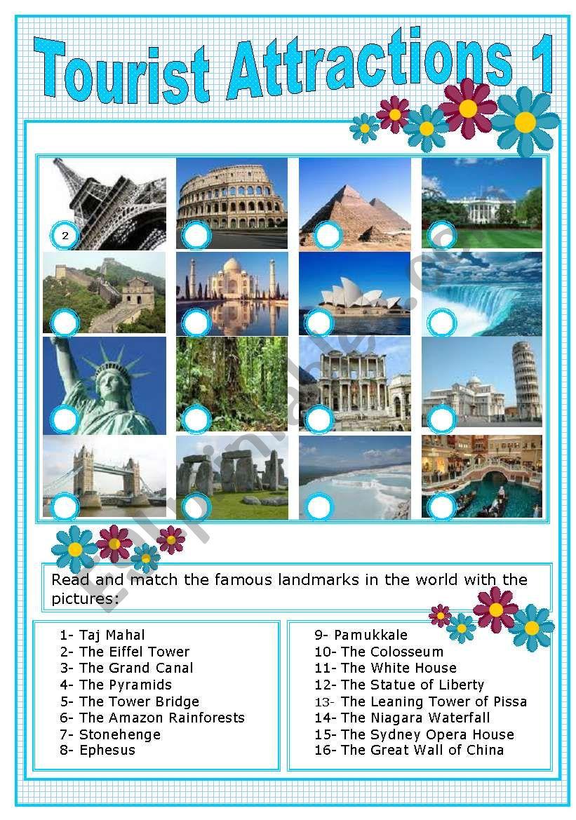 TOURIST ATTRACTIONS 1 worksheet