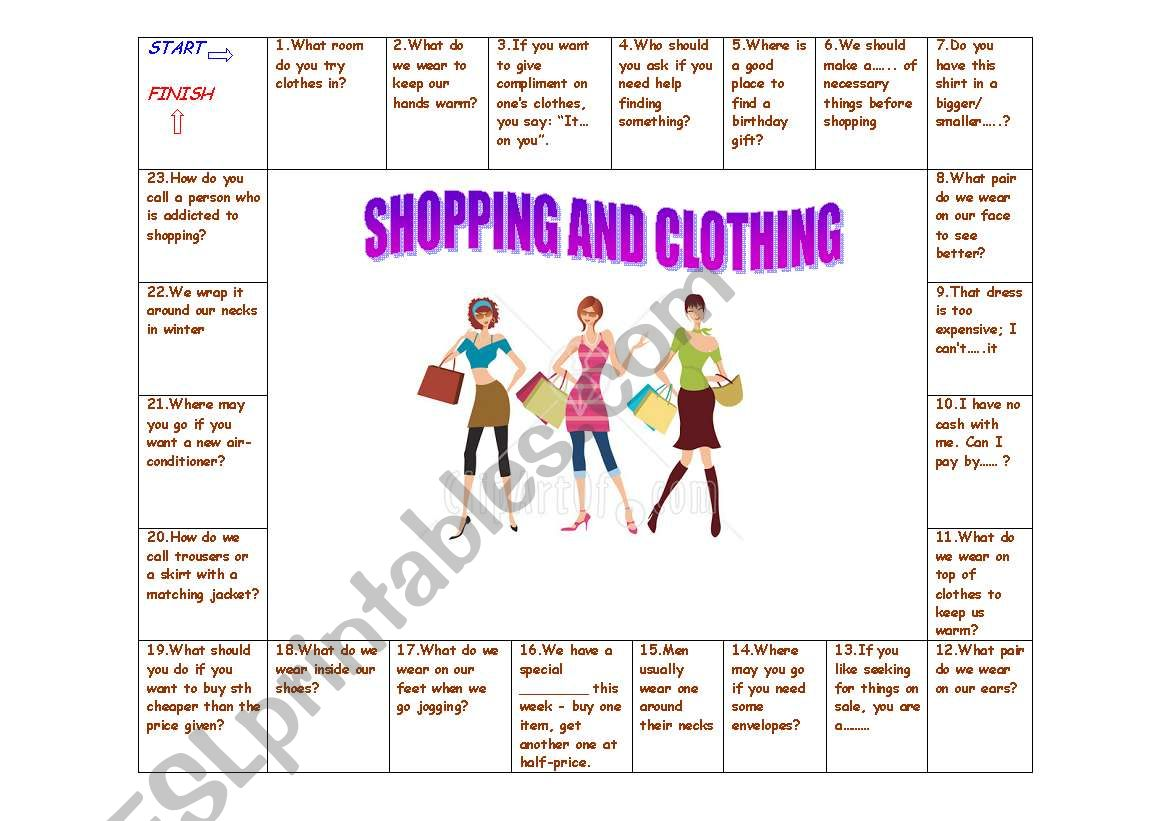 BOARD GAME - SHOPPING AND CLOTHING (Answer key included ...
