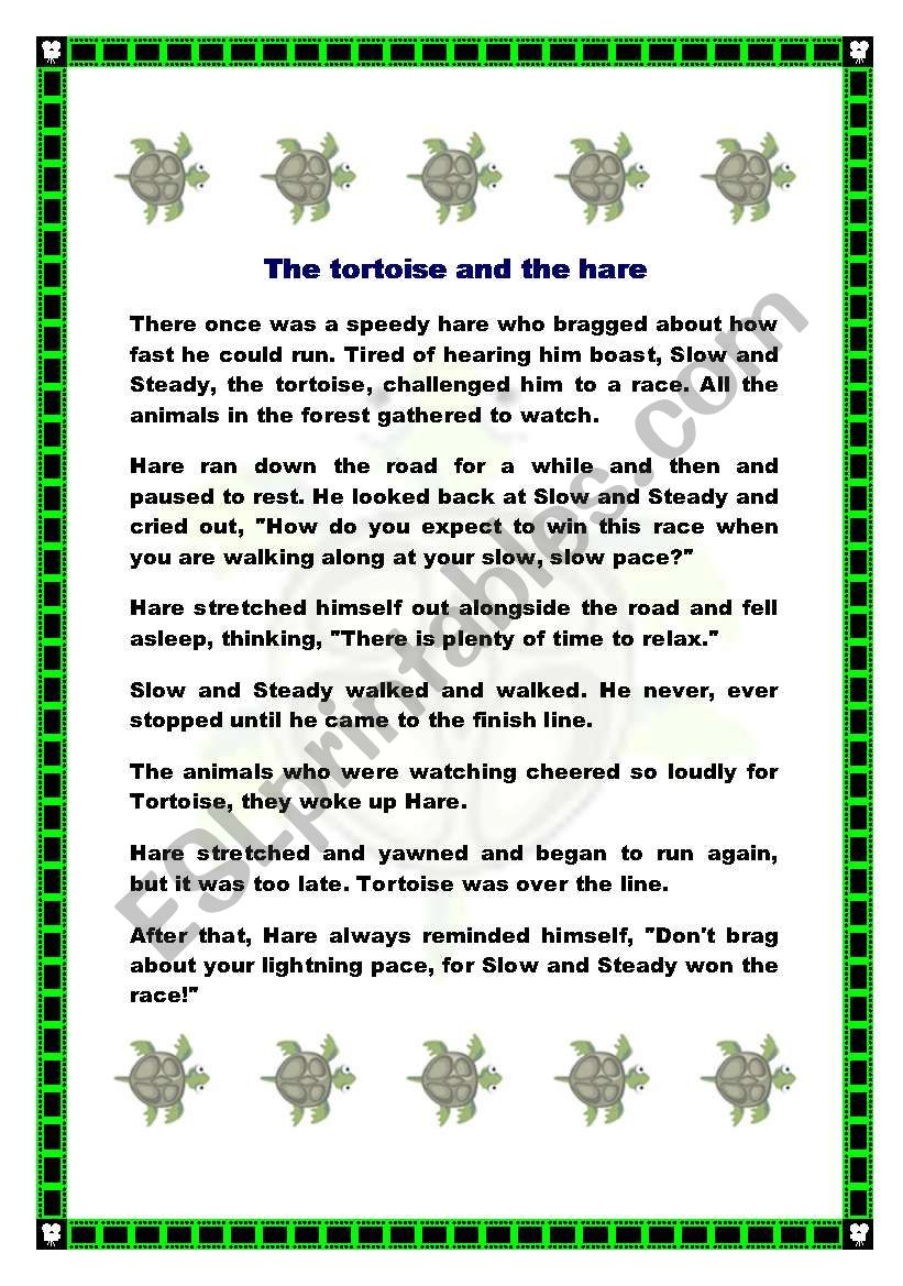The Tortoise And The Hare Fable Esl Worksheet By Potxoki