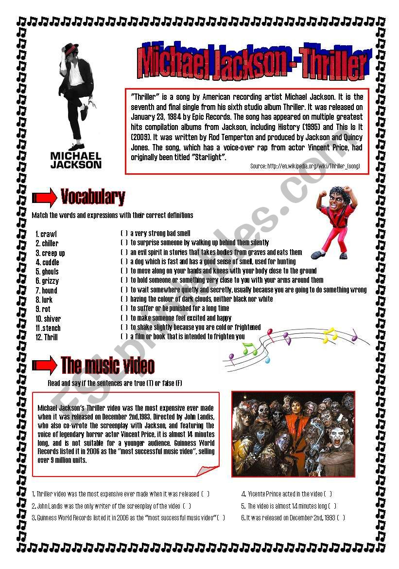 Thriller - Michael Jackson worksheet