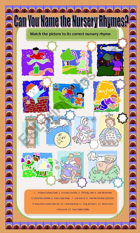 Identify the Nursery Rhyme worksheet