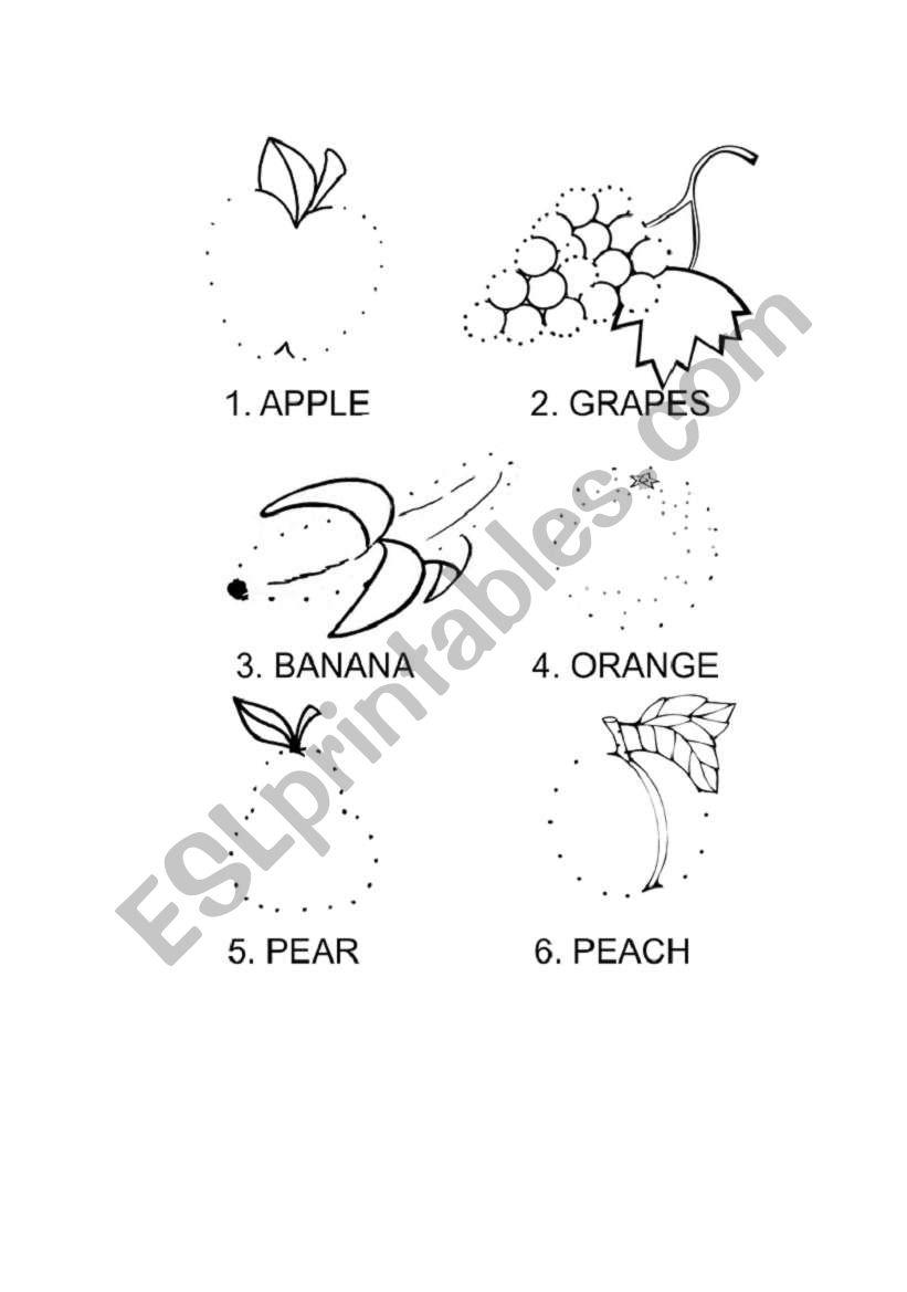 Dot-to-dot fruit coloring worksheet