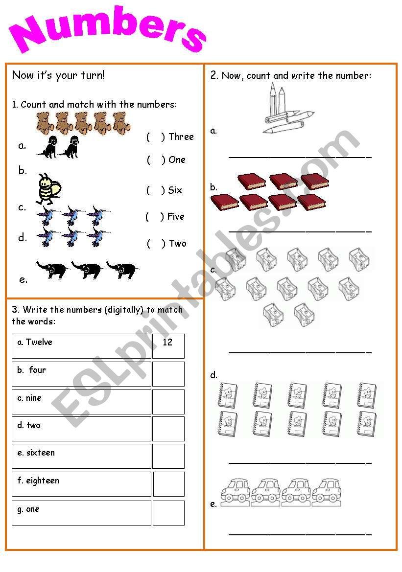 Numbers 1 - 16 worksheet