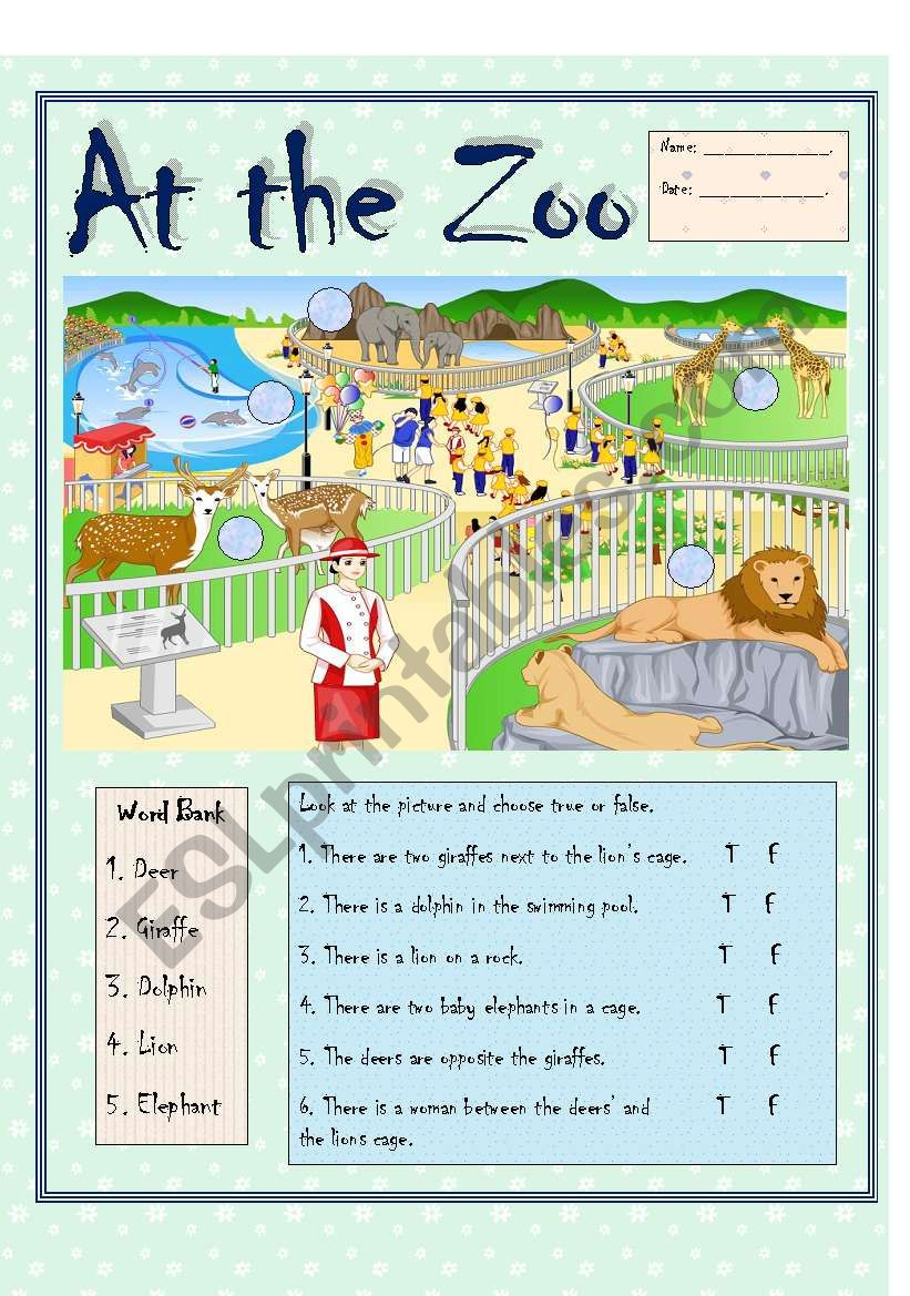 At the Zoo (b/w version) worksheet