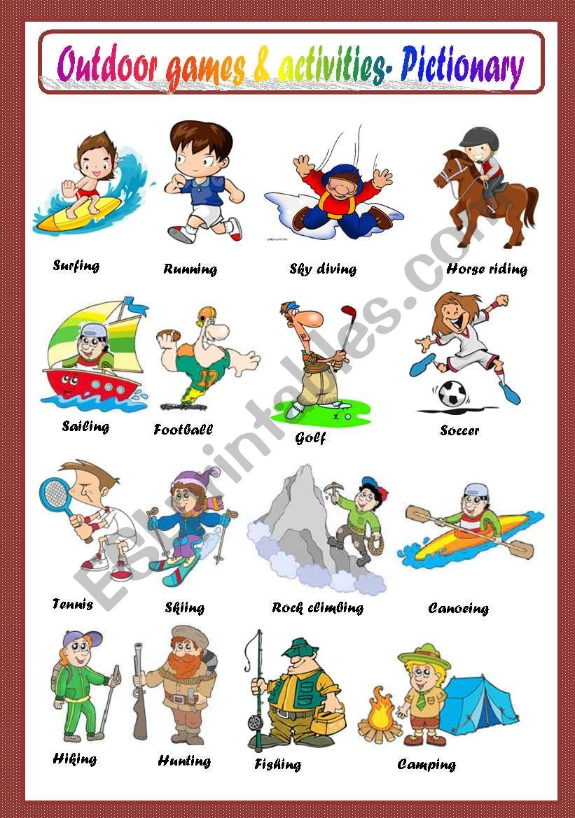 OUTDOOR GAMES AND ACTIVITIES - PICTIONARY - ESL worksheet by macomabi