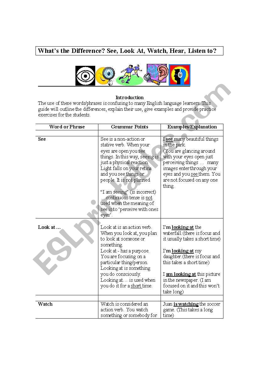 What S The Difference Between See Look At Watch Hear Listen To Student Guide Explanations And Examples Exercises And Answers Esl Worksheet By Maceman