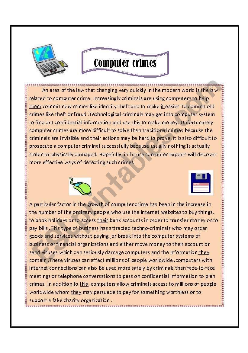 Computer crimes  worksheet