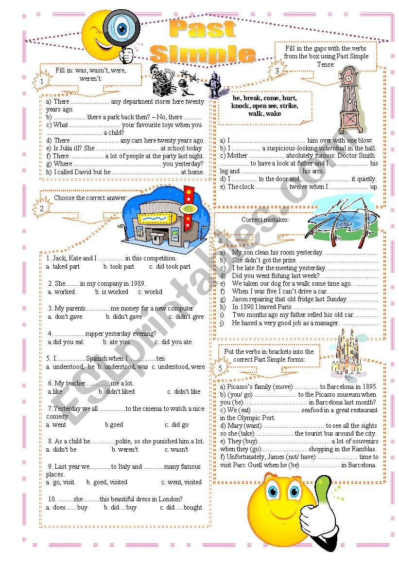 Past Simple exercises worksheet