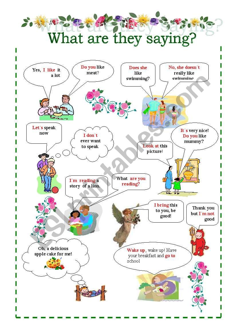 What are they saying? worksheet