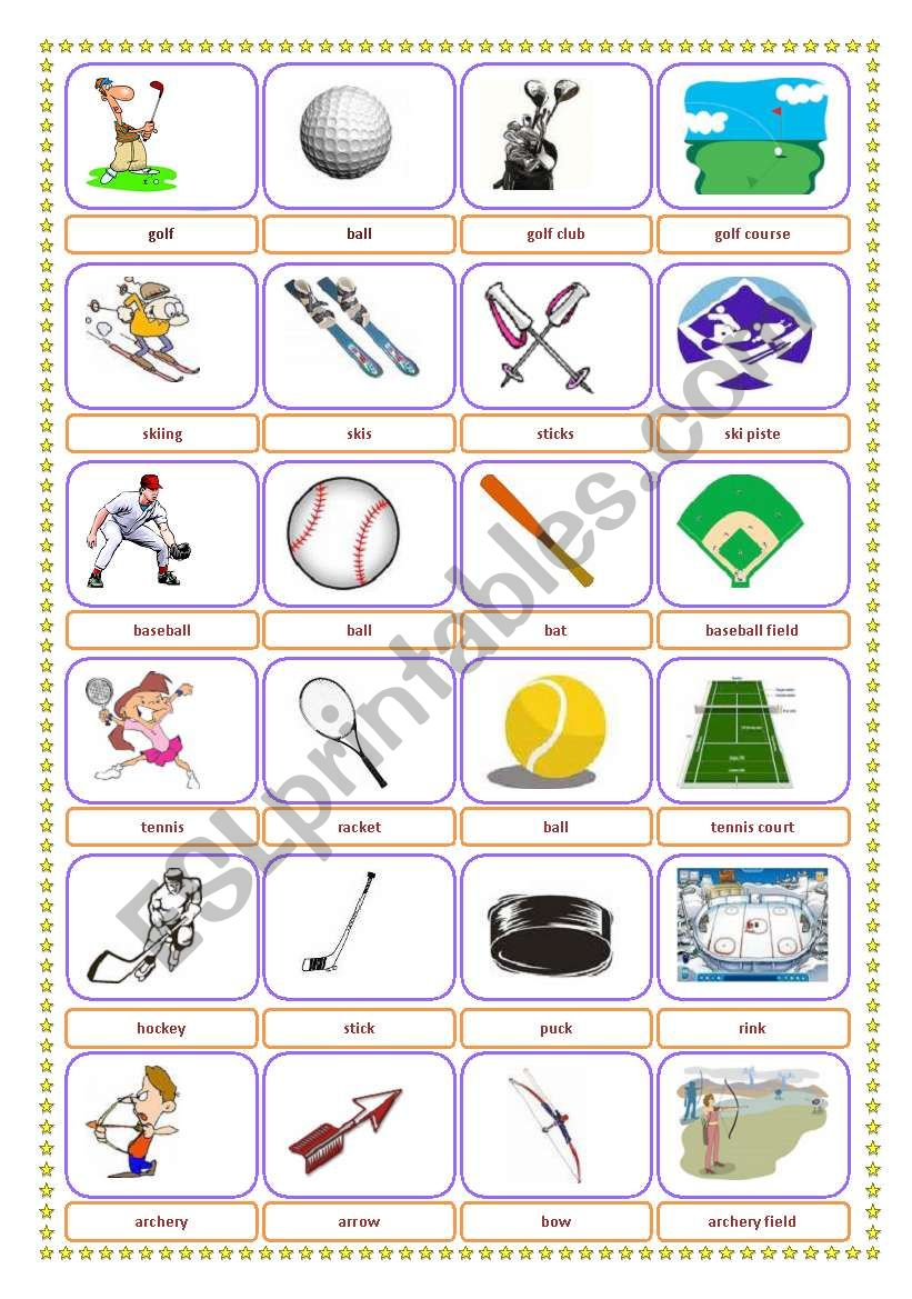Sports-Equipment-Location Pictionary+memory exercise