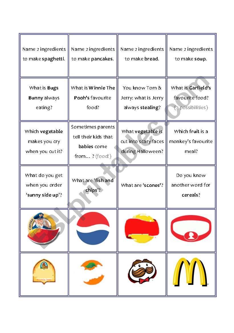 Food game - game cards worksheet