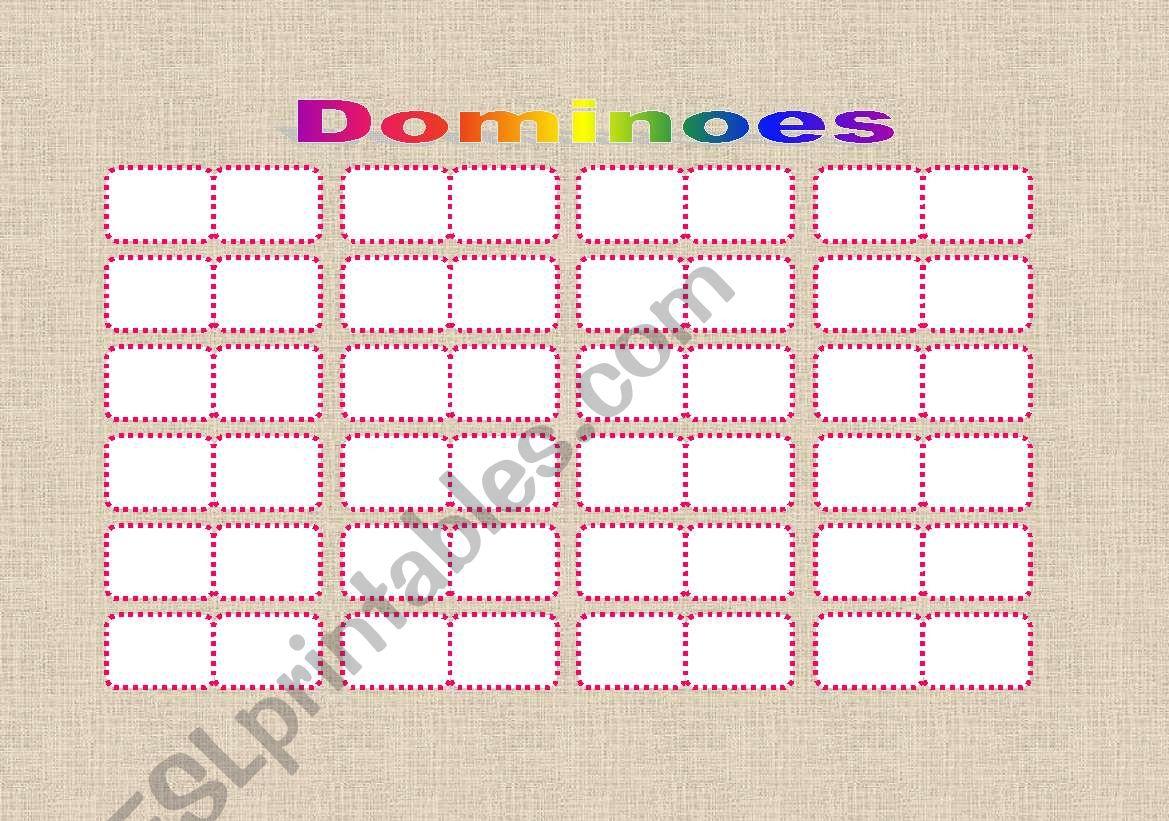 DOMINOES template worksheet