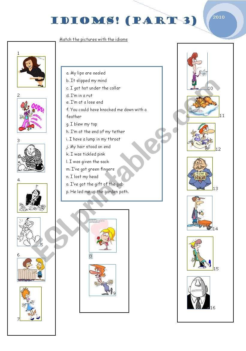 Idioms Part 3/3 worksheet