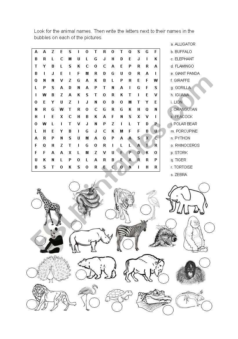word search animals esl worksheet by ernestriver. Black Bedroom Furniture Sets. Home Design Ideas