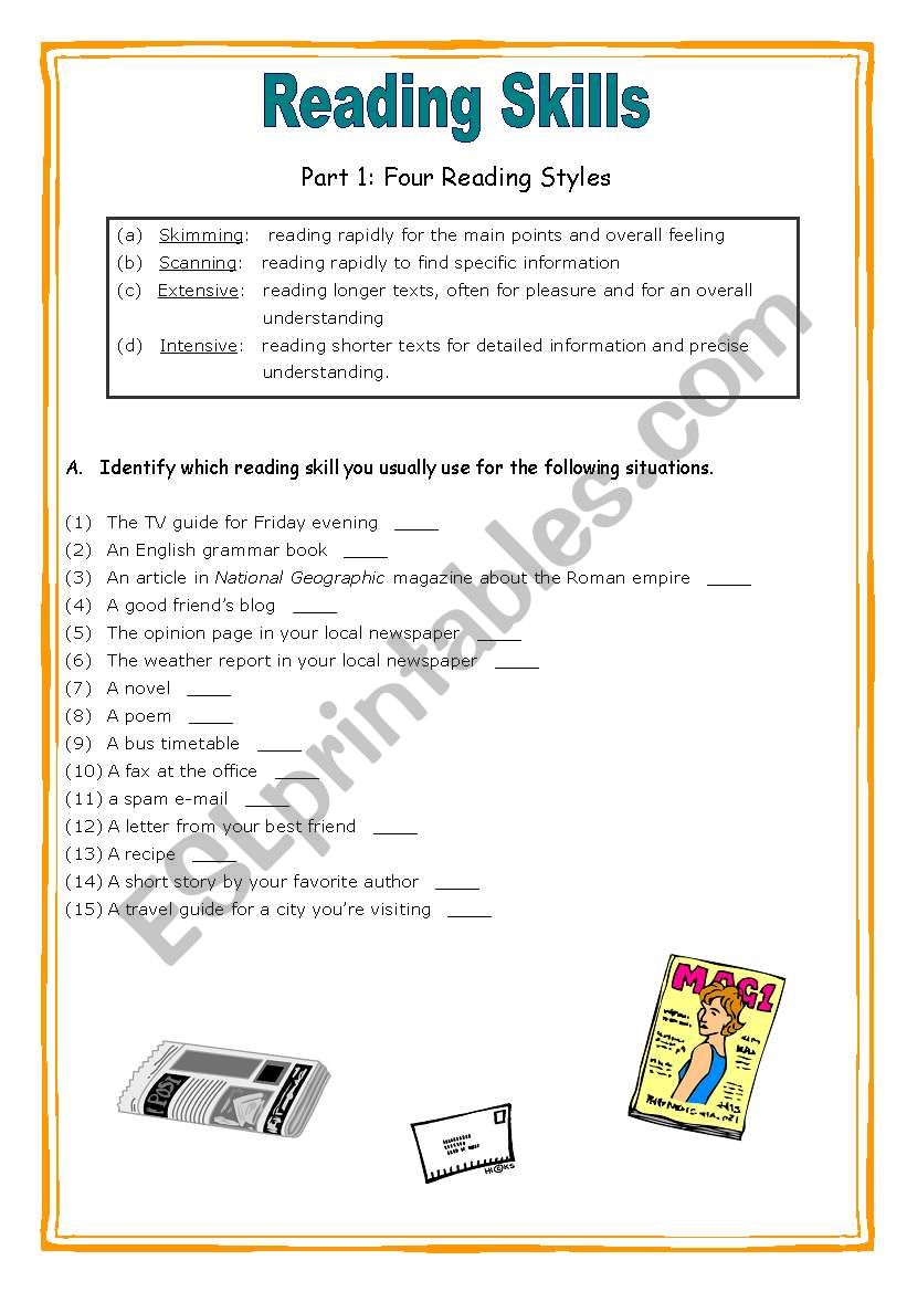 - Reading Skills Worksheet - ESL Worksheet By Liquidnuance