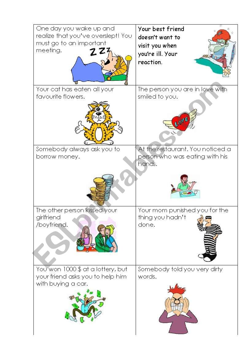 Just imagine the situation! Emotions and conditionals practice.
