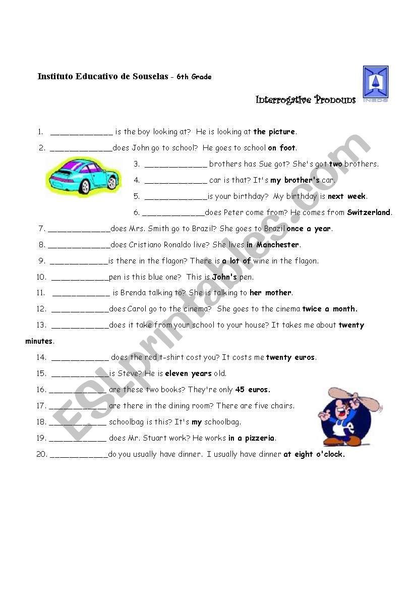 Interrogative Pronouns worksheet
