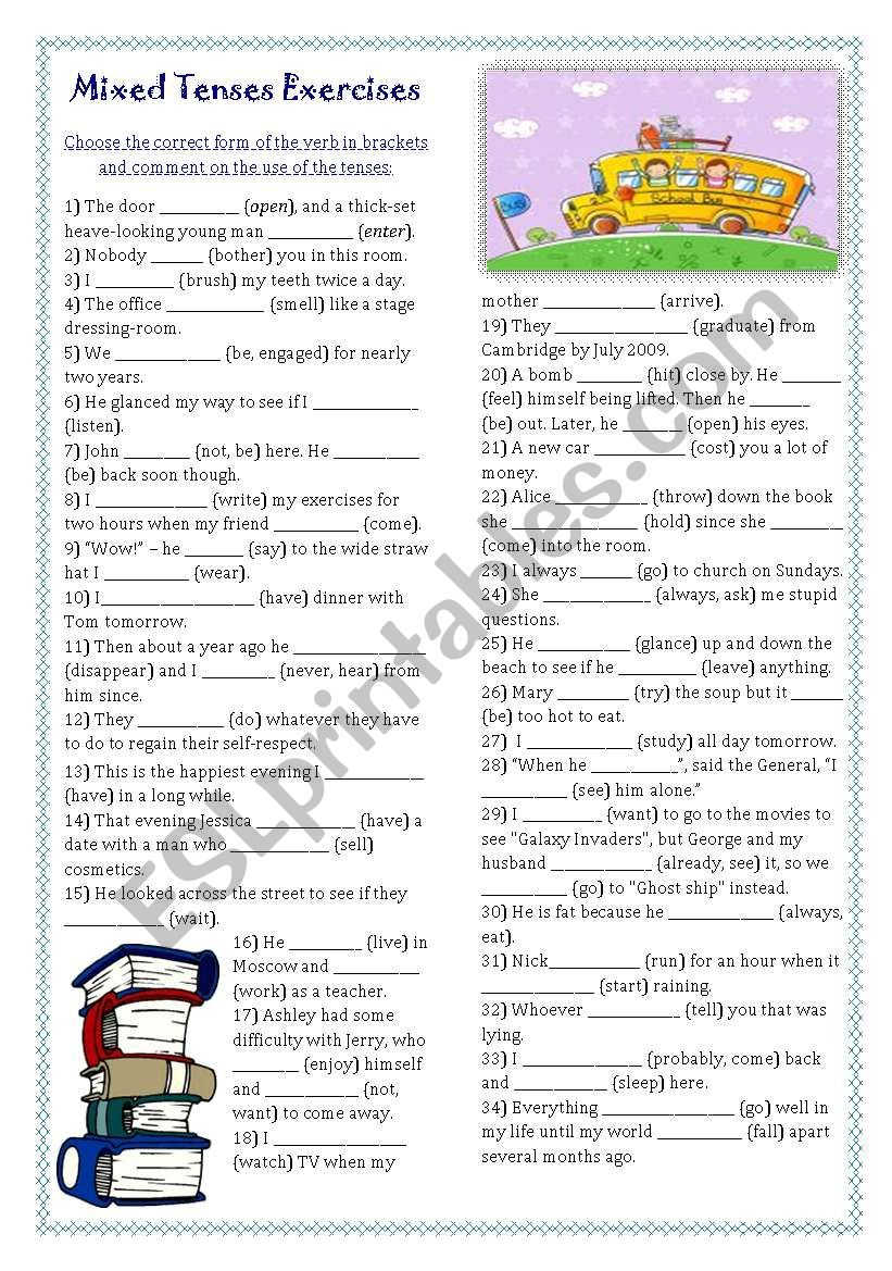 Mixed Tenses Exercises (key included)